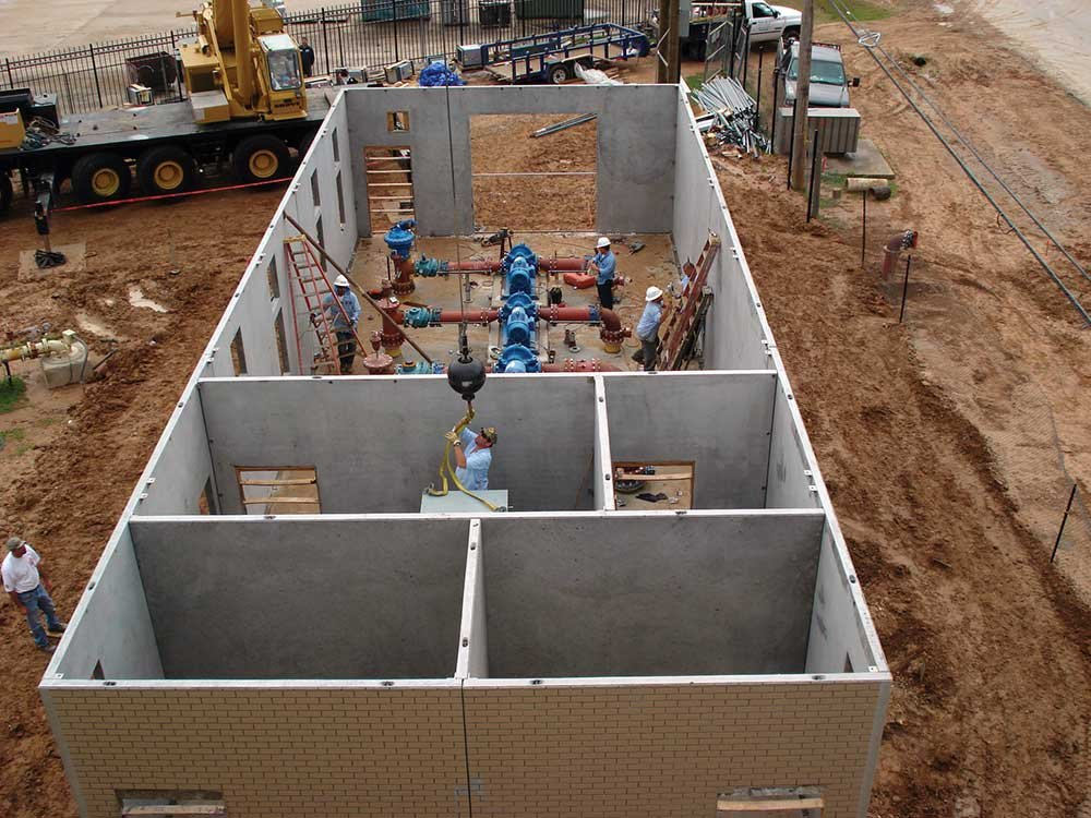 Precast concrete pump house buildings wastewater for Precast concrete home